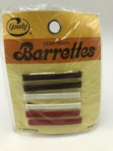 """Vintage 1970s Goody Stay Tight Barrettes Red White Brown 2"""" Pkg 6 USA"""