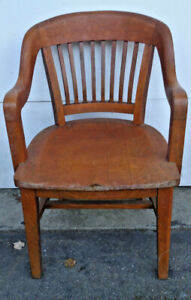 2 OF 2, OAK QUEEN ANNE? STYLE BARRISTER OFFICE/ JURY ARM CHAIR, A.H. ANDREWS