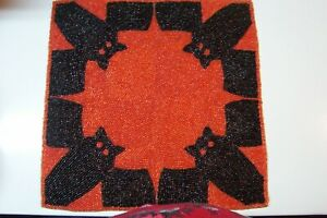 """Spooky Nights Orange/Black Owls Beaded Placemat Charger Centerpiece 14"""" Square"""