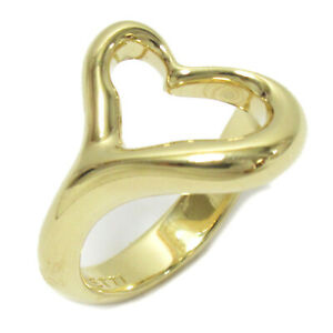 TIFFANY&CO Open heart ring bague #8 K18 750 Yellow Gold Used