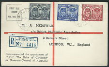 WWII Peace Victory Australia FDC MEDAWAR Registered British Philatelic Ass. 1945