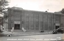 Belle Plaine Iowa~School Gymnasium Close Up~Art Deco Windows~1930s Car~RPPC