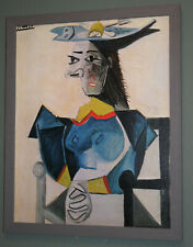 Vintage Large Picasso Abstract Painting Print on Canvas 'Fish Hat' Framed 27x22""