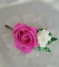 Wedding Buttonhole Corsage Pin On Fuchsia And Ivory Pearls Ribbon Loops