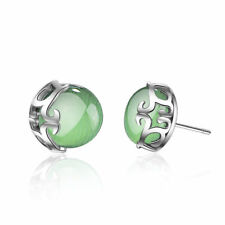 Solid 925 Sterling Silver Green Opal Plant Flower Ear Stud Earrings Jewelry