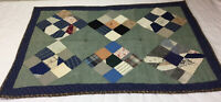 Vintage Patchwork Small Quilt, Table Topper, Nine Patch, Early Calico Prints