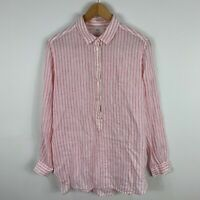 Uniqlo Womens Linen Blouse Top Small Pink Striped Long Sleeve Collared