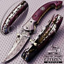 BEAUTIFUL CUSTOM HAND MADE DAMASCUS STEEL HUNTING POCKET KNIFE HANDLE CAMEL BONE
