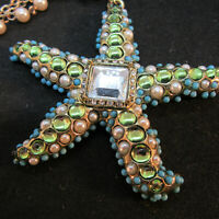"CHICOS Starfish Necklace 17"" w/ 3"" Extender Turquoise Pearl Green Beads Glass"