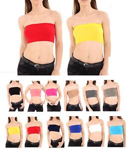 New Womens Vest Bra Crop Top Plain Printed Boob Tube Strapless Bandeau Size 8-14