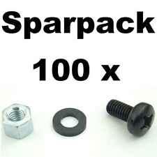 100 Sets Rackschrauben M6 x 12 + Unterlegscheibe flach + Sechskant Rackmutter AH
