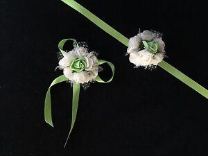 Brautjungfern Blumen Armband Satin Bändchen yesil Gül Nedime Bilekligi grün