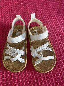 Infant Girls Carters White Braided Sandals 9-12 Months