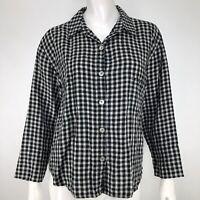Chicos Womens 1 Medium Shirt 100% Linen Plaid Black White Boxy Lagenlook M