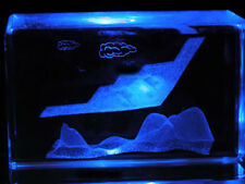 "3"" 3D  LASER CRYSTAL F-117 Nighthawk Aircraft & Radar + Free Light Base"