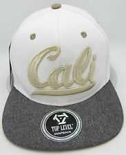 CALI Snapback Cap Hat California Republic White w/Gray Flat Bill OSFM NWT