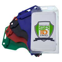 5 Pack - Specialist ID Multiple Card Badge Holder - Vertical Heavy Duty Plastic