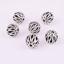 Nice 10pcs Tibetan silver Round Hollow Loose Spacer Beads Jewelry Findings 10mm