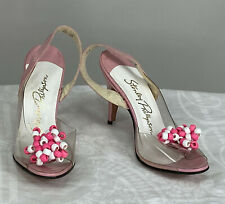 1950s Stanley Philipson Pink Leather Beads Clear Vinyl Sling Back High Heels