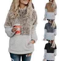 Womens Winter Zip Up Teddy Bear Fluffy Sweater Ladies Casual Outwear Jumper Tops