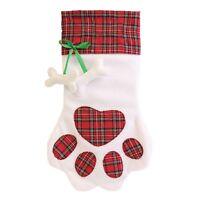 White Christmas Pet Stocking Only with Tartan Paw Print Dog Cat Animal Treats