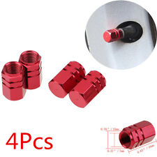 4PCS Aluminum Tire Wheel Rims Stem Air Valve Caps Tyre Cover Car Truck Bike Red