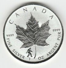"""2016 1 oz Silver Proof Canadian """"Maple Leaf"""" with Bigfoot Privy $5"""