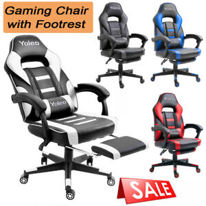 Racing Gaming Chairs with Footrest Office Computer Desk Chair Swivel Car Leather