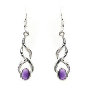 New Amethyst Natural Gemstone 925 Sterling Fine Silver Earring Jewellery