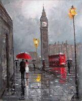 100%HAND-PAINTED ART ACRYLIC KNIFE OIL PAINTING LONDON CITYSCAPE 16X20INCH