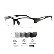 Ultra Light Half-rim Reading Glasses Eyewear Photochromic Grey Metal&TR90 Retro