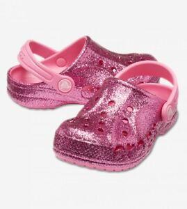 NWT Crocs baya glitter clog k 205911-669 Pink Girl's Size C10