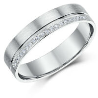 9ct White Gold Diamond Eternity Grooved Ring Flat court 5mm Solid & Hallmarked