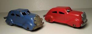 2 X - Wyandotte Girard Marx Red & Blue Streamlined Airflow Coupe / Sedan