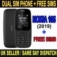 Nokia 105 (DUAL) SIM Unlocked ( 2019 Edition ) Black Phone with FREE SIMS