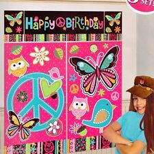 (5pc) HIPPIE CHICK GIANT SCENE SETTER Plastic Poster ~ Birthday Party Supplies