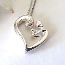 "Women's Argentium 935 Silver Mother & Child Diamond Heart Pendant Necklace 18"""