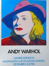 "Andy Warhol Ingrid Bergman ""With Hat"" Galerie Borjeson Sweden 28x39 Poster New"