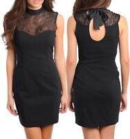 Ladies Women Black Formal Cocktail Function Lace Dress Size 8 S 10 M 12 L NEW