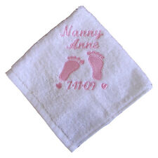 Personalised Name Flannel Facecloth Towel Gift Baby Mens Ladies Mothers day gift