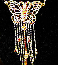"""Handmade BUTTERFLY ORANGECrystals&Chain Necklace  by PILGRIM - 14 to17"""" Long NEW"""