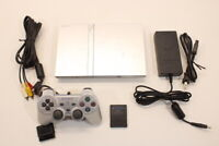 Sony PS2 Slim Silver SCRATCHED Console Cont AC AV Bundle Japan 2PC83