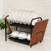 2 Tier Dish Drying Rack Dish Rack Drainer Holder Kitchen Storage Space Saver