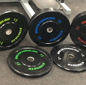 150kg bumper plates  breakthrough strength with coloured writing -NEW FLASH SALE