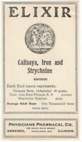 Vintage Elixir of Calisaya, Iron & Strychnine Label - Geneseo Illinois Medicine