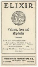 Vintage Elixir of Calisaya, Iron and Strychnine Label - Geneseo Illinois