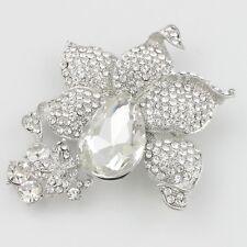 1 Stück Silber Strass Kristall Versilbert Schmuck Broschen Klarglas Verzierung