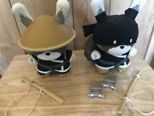 "Huck Gee Raku 8"" Dunny set. BLACK.   AP artist proof 2/25"