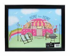 Pink Caravan Picnic Summer Wooden Black Cushioned Bean Bag Lap Tray Meal Laptop