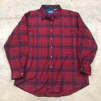 Vintage Pendleton Made in USA Wool Red Check Plaid Shirt Men's XL